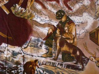 Trapper Mountain Cabin Deer Bear Dog RAM Wolf Hunting Camp Fabric 44 x