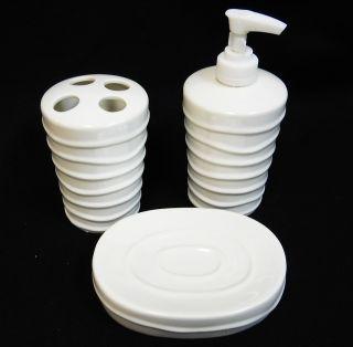 Bath Accessory Set 3 pc, Soap Dish, Lotion Pump Dispenser, Toothbrush