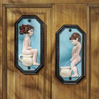 Cast Iron Plaques Girl Boy Cherub Angel Bathroom Design Toscano