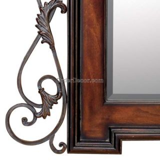 LARGE 40 TUSCAN WALL MIRROR, WOOD & IRON SCROLL FRAME