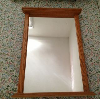 Hanging Bathroom Vanity Mirror With Wood Trim  Local Pickup Only