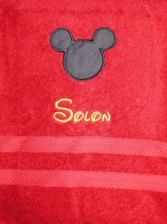 Personalized Monogram Mickey Mouse Bath Towel