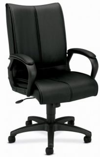 Basyx by HON HVL111 Executive Home Office Black Leather High Back