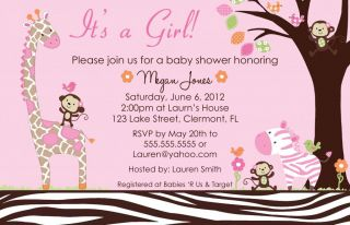 Carters Jungle Jill Baby Shower Invitation Girl Giraffe Safari