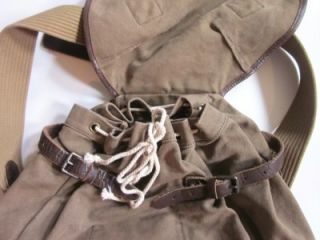 RALPH LAUREN POLO brown canvas w/ leather backpack book bag NWT