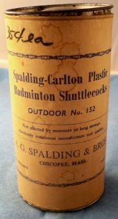 Vintage Spalding Carlton Badminton Shuttlecocks Can