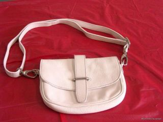Fab Roots Canada White Leather Shoulder Bag Purse