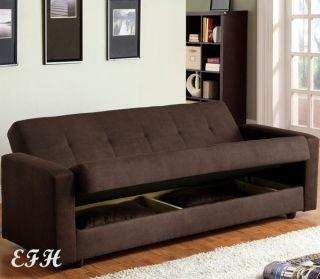 Chocolate Microfiber Futon Sofa Bed w Under Seat Storage