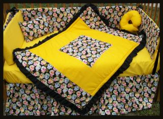 New Black Yellow Sugar Skulls Crib Bedding Set Fabrics