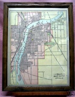Antique Framed Map of Bay City Michigan Michigan Cen RR