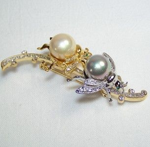 Queen Bee Pin Brooch Figural Insect Bug Jewelry Faux Pearl Rhinestones