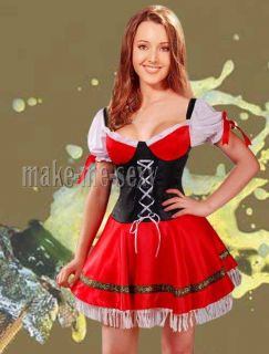 Sexy Red German Beer Girl Cosplay Fancy Dress Costume XL A018