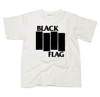 Black Flag Bars Logo Old School Punk T Shirt White