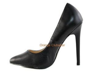 Leather Stiletto High Heels Classic Pumps Sexy Basic Evening Shoe