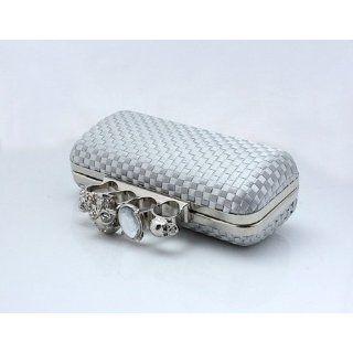 Basket Weave Hard Case Evening Clutch Silver Satin Skull Ring Knuckle