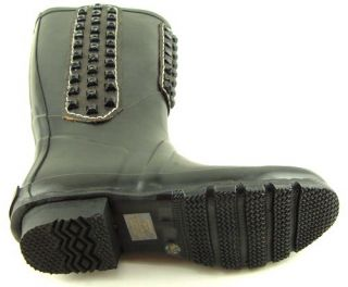 Vintage Black Rubber Womens Designer Shoes Rain Boots 10 EUR 40