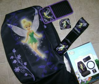 TINKER BELL 4 PC CAR KIT SEAT COVER WHEEL COVER VISOR ORGANIZER DECAL