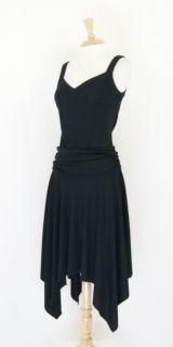 BCBG Paris Black Asymmetrical Stretch Sleeveless Cocktail Dress Size M