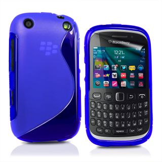 Blue S Line Wave Gel Case Cover for BlackBerry 9320 Curve 9320