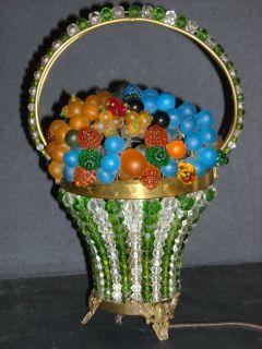 Czech Czechoslovakia Beaded Fruit Basket Lamp