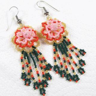 Pink Green Golden Rose Beaded Earrings Handmade Jewelry