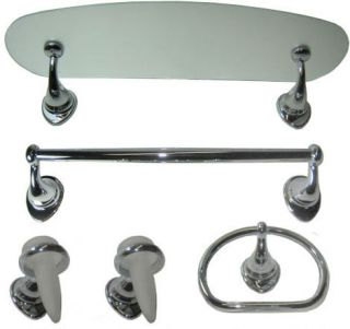 DELTA 5 PIECES LUXURY BATHROOM ACCESSORIES SET POLISHED CHROME
