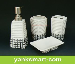 Gird 4 Pieces Ceramic Bathroom Accessories Set Vanity Dispenser YC