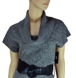 BCX Womens Grey Cowl Neck Belted Short Sleeve Sweater Dress Size M