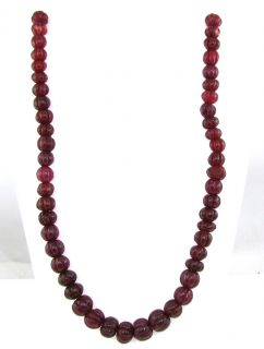NATURAL CARVED QUARTZ IN RED RUBY SAHE OVAL CABOCHON BEADS NECKLACE