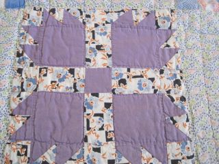 Vintage Bear Claw Quilt Cotton Pastels Depression Era