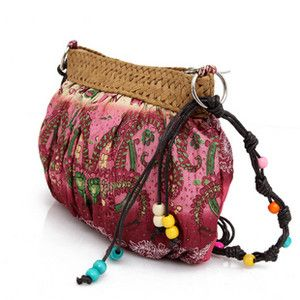red nature straw Plaited purse shoulder bag beach bag Cross Body bag
