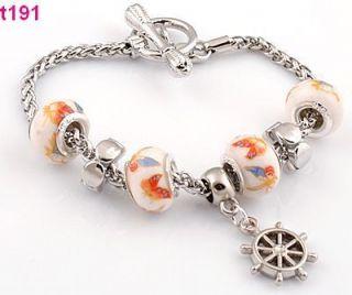handmade beautiful European beaded charm bracelet porcelain beads t191