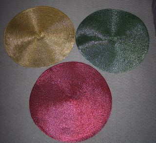 Round Metallic Placemats 15 AssT Colors Holiday Table Decor Gold