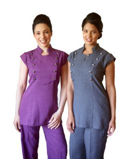 Beauty Therapist Spa Melange Big Button Uniform Tunic
