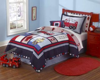 Fire Truck Red Blue Full Queen Boys Bedding Set Quilt 2 Shams