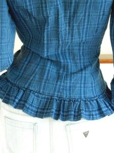 Ralph Lauren $110 Women Blue Plaid Peplum Ruffle Blouse