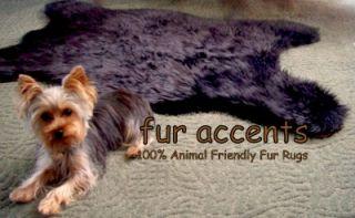 30X50 Black Bear Skin Accent Rug Faux Fur Fake Pelt Throw Log Cabin