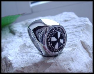 Original AJS © Teutonic Knights Ring Black Iron Cross Germany Silver