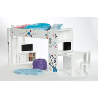 McKenna Loft Bed Study TV Computer Bedroom Fits 18 American Girl Doll
