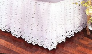 NEW SCALLOPED WHITE EMBROIDERED EYELET KING BEDSKIRT DUST RUFFLE SPLIT