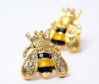 Enamel Garden Insect Cute Bumble Bee Ear Stud Jewelry Earring
