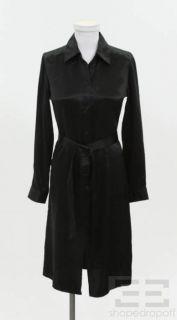 BCBG Max Azria Black Silk Satin Belted Shirt Dress Size 2
