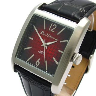 Ben Sherman Mens Square Watch with Red Dial and Black Leather Strap