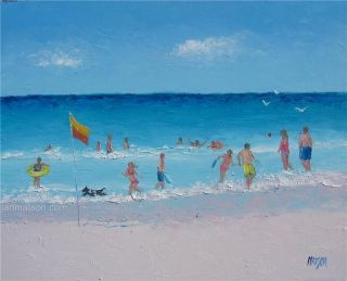 Beach Painting with People Art Original Oil by Matson