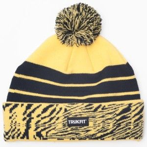New Famous TRUKFIT Brand Pom Beenie Black Yellow Hat Zebra Stripes