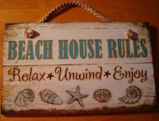 BEACH HOUSE RULES   RELAX   UNWIND   ENJOY Nautical Seaside Home Decor