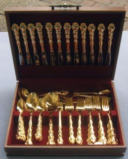 Oneida Beethoven Gold Plate Golden Stainless Flatware Set for 12 w