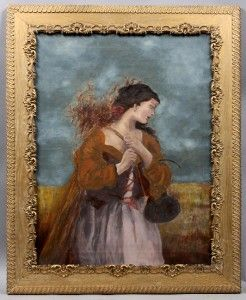 Original Antique Italian Oil Painting Beautiful Farm Girl Collecting