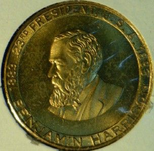 Benjamin Harrison Mint Version 2 Commemorative Bronze Medal Token Coin