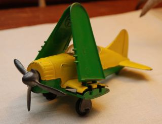 Vintage HUBLEY toy airplane Yellow Green hinged wings retractable gear